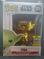 Funko Yoda Figure Gold Metallic 2019 Galactic Convention 124 Star Wars New