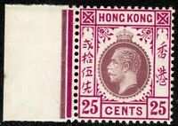 Hong Kong1912 purple/magenta 25c multi-crown CA Type A unmounted mint SG108