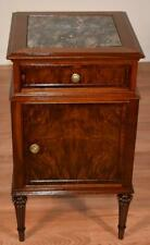 1910s Antique French Louis XVI Walnut Black marble top Nightstand Cabinet