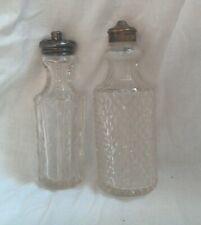 Lot 2 Victorian Antique Glass Shakers Bottles w/ Silver Tops Castor Dresser Set