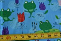 By 1/2 Yd, Frogs & Flowers on Blue Quilt Fabric, Timeless Treasures, N4358