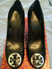 38462a7a8813 Tory Burch Sophie Wedge Black Patent Leather Size 11