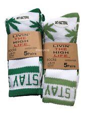New Unisex Men's Cannabis Ganja Marijuana Weed Leaf 5 Pairs Cotton Socks White
