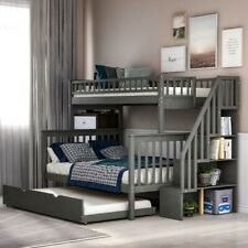 Solid wood Bunk Beds Twin over Full Bunk beds with Trundle bed,Bedroom Furniture