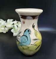 Vintage Mexico Pottery Vase Birds & Flowers