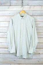 Vintage blanco, Verde & Lila Camisa de cuadros (L)