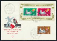 SCHWEIZ 1955, Block 15, auf schönem, illustriertem Blankoumschlag, Mi. 100,-