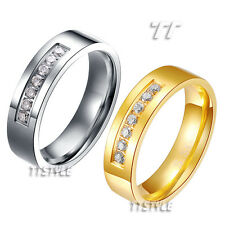 TT Stainless Steel Eternity CZ Wedding Band Ring Size 5-14 Men & Women (R108)