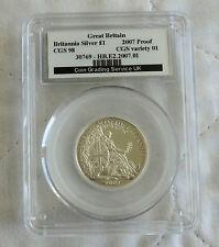 2007 £1 BRITANNIA 1/2oz SILVER PROOF SLABBED CGS 98