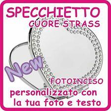 SPECCHIETTO CUORE con STRASS PERSONALIZZATO con FOTO e TESTO INCISI!!!