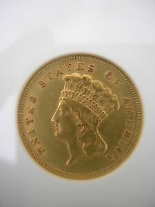 ANACS 1878   $3.00 PRINCESS GOLD PIECE   AU 50