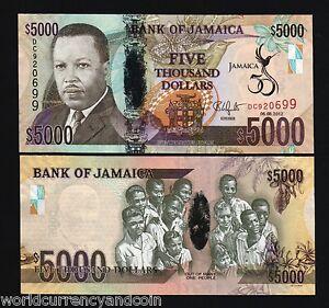 JAMAICA 5000 5,000 DOLLARS P93 2012 Commemorative 50 Independence BIRD UNC NOTE