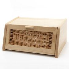 Holzfee BK 40 Rattan Brotkasten Holz Rattan Klapptür Brotbox Brot Aufbewahrung