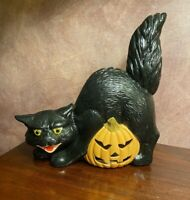 Vintage Hand Painted CERAMIC BLACK VAMPIRE CAT Jack-O-Lantern PUMPKIN HALLOWEEN