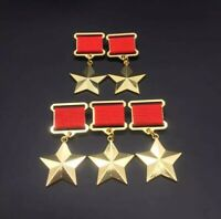 5pcs Lot Medal Order Gold Plated Star Russia Badge Pin WW1 WW2 Replica Wholesale