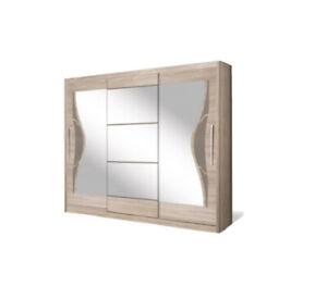 3 Door Sliding Wardrobe 240CM.Oak Sonoma/Cappuccino/Mirror.DOME/DO6-24.BRAND NEW