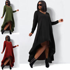 Plus Size Chiffon V Neck Long Sleeve Dresses for Women