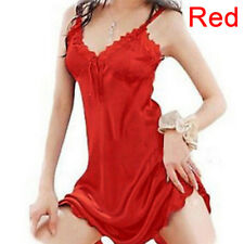 Ladies Sexy Sleepwear Nightgown Satin Silk Babydoll Lace Robes Sleep Dress Skirt