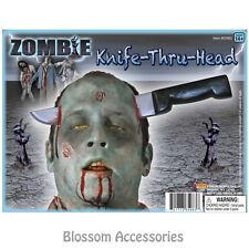 A382 Zombie Knife Thru The Head Halloween Costume Prop Accessories