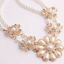 Fashion Women Big Faux Pearl Flower Pendant Choker Bib Statement Necklace Chain