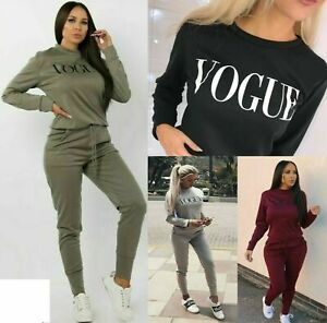 Womens Vogue Print 2 Piece Loungewear Boxy Tracksuit Ladies Top and Jogger Set