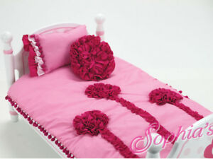 "Pink Rosette Reversible Bedding 3-Piece Set 18"" American Girl Doll"