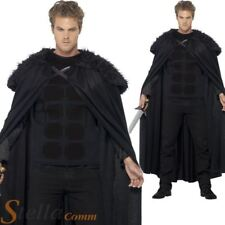 Mens Barbarian Game Of Thrones Fur Trimmed Cloak Jon Snow Fancy Dress Costume