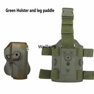 Tactical Gun Holster Drop Pistol Carry Pouch Hand Right Thigh Leg Waist Hunting