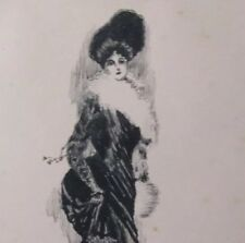 Original Etching Victorian Fashion Society Lady in the Paul Helleu Style c1880s