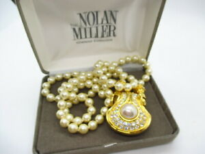 Nolan Miller Portofino Detachable Gold Plated Rhinestone Pearl Pendant Necklace