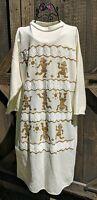 Amazing Vintage 80s Egyptian Teddy Bear Sweatshirt Nightgown Dress Sz S - M