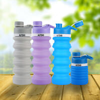 AUTENS Collapsible Water Bottle Silicon 550ml Leak Proof, BPA Free, FDA Approved