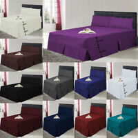 LUXURY PLAIN DYED PLEATED POLY COTTON PLATFORM BASE VALANCE SHEETS IN ALL SIZES