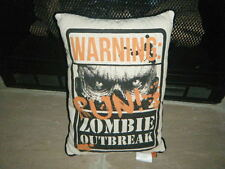 "WARNING ZOMBIE OUTBREAK RUN !! LARGE PILLOW HALLOWEEN  13"" X 17"" WALKING DEAD"