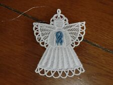 Embroidered Ornament - Christmas-Stomach/Esophageal Cancer Angel-Periwinkle