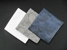 3x Mens Paisley Silk Satin Pocket Square/Handkerchief/Hankies-White, Grey, Navy