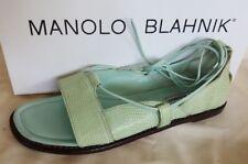 Manolo Blahnik Snakeskin Flat Sandals Sz US 6 New