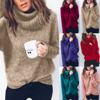 Womens Winter Turtleneck Baggy Tops Chunky Knitted Casual Loose Sweater Jumper