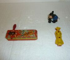 Vintage Assorted Lot of 3 Small Toys Cowboy Whistle Mickey Mouse & Other S-28