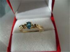 Vintage 14K Yellow Gold Genuine Sky Blue Topaz Diamond Ring New