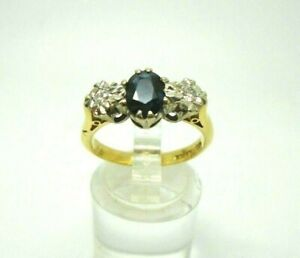18ct Yellow Gold Hallmarked Sapphire & Diamond Ring Size O Free UK Shipping