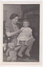 Lady with Doll and Teddy Bear RP Postcard B735