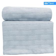 Basket Weave Twin/Twin XL Cotton Blanket, lightweight summer blanket,Light Blue
