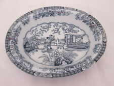 H&C Antique Stoneware Flow Blue Bowl Tea House Chinese Pattern Oval Bowl 1800s