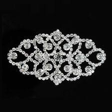 Silver Clear Crystal Rhinestone Applique Sewing Costumes Bridal Dress Trims DIY