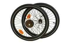 FOLDING BIKE 6 SPEED ALLOY WHEEL SET 20 x 1.75 406, 84mm FRONT WITH TYRES & TUBE