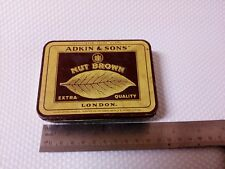 Adkin & Sons Nut Brown Cigarette Tin Box Tobacco Tobacciana Vintage Genuine