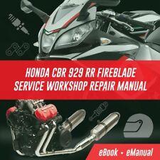 Honda Fireblade CBR929 2000 2001 Service Manual Ebook *** SPECIAL OFFER ***