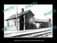 OLD LARGE HISTORIC PHOTO OF SYLVAN BEACH NEW YORK, THE RAILROAD STATION c1910