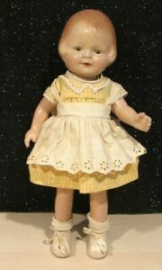 """ANTIQUE All Composition doll, unmarked Patsy clone 1930s, Sleep eyes 16"""" DRESSED"""